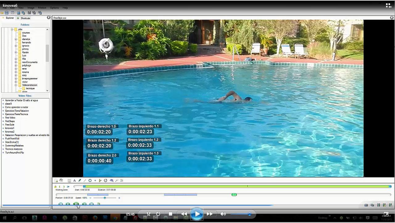 Uso de Kinovea natacion