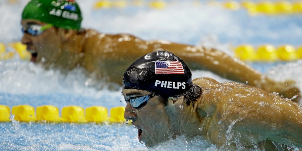 Llegada final 100 mariposa Londres 2012, Phelps vs le Clos